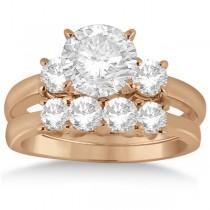 3 Stone Diamond Engagement Ring & Wedding Band Set 14K Rose Gold (1.10ct)