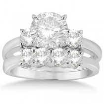 3 Stone Diamond Engagement Ring & Wedding Band Set in Palladium (1.10ct)