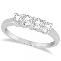 Classic Four Stone Diamond Ring Wedding Band 14K White Gold (0.60ct)