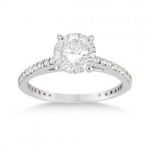 Petite Eternity Diamond Engagement Ring 14k White Gold (0.55ct)