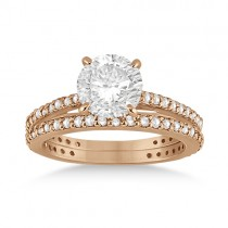 Eternity Diamond Engagement Ring & Band Set 14k Rose Gold (1.10ct)