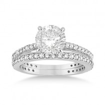 Eternity Diamond Engagement Ring & Band Set 14k White Gold (1.10ct)