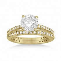 Eternity Diamond Engagement Ring & Band Set 18k Yellow Gold (1.10ct)