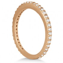 Pave Set Eternity Diamond Wedding Ring Band 14k Rose Gold (0.55ct)