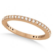 Pave Set Eternity Diamond Wedding Ring Band 18k Rose Gold (0.55ct)