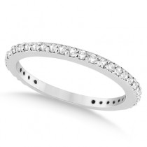Pave Set Eternity Diamond Wedding Ring Band 18k White Gold (0.55ct)