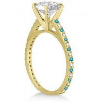 White & Blue Diamond Engagement Ring Pave Set 14K Yellow Gold 0.52ct
