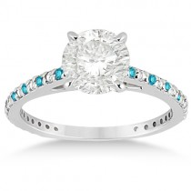 White & Blue Diamond Engagement Ring Pave Set in Palladium 0.52ct
