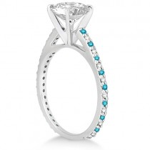 White & Blue Diamond Bridal Ring Set in 14K White Gold 1.06ct