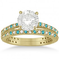 White & Blue Diamond Bridal Ring Set in 14K Yellow Gold 1.06ct