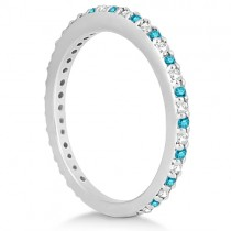Eternity White & Blue Diamond Wedding Band in 14K White Gold 0.54ct|escape