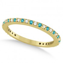 Eternity White & Blue Diamond Wedding Band in 14K Yellow Gold 0.54ct
