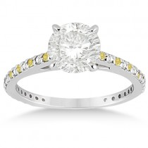 White & Yellow Diamond Engagement Ring Pave Set 14K White Gold 0.52ct