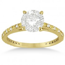 White & Yellow Diamond Engagement Ring Pave Set 14K Yellow Gold 0.52ct