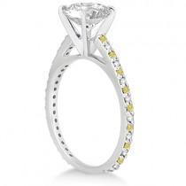 White & Yellow Diamond Engagement Ring Pave Set in Palladium 0.52ct