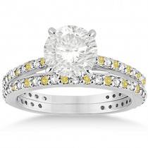 Bridal Ring Set with White & Yellow Diamonds in 14K White Gold 1.06ct