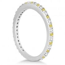 Bridal Ring Set with White & Yellow Diamonds in 14K White Gold 1.06ct