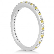 Eternity White & Yellow Diamond Wedding Band in 14K White Gold 0.54ct