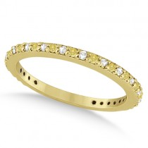 Eternity White & Yellow Diamond Wedding Band in 14K Yellow Gold 0.54ct