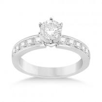 Channel Set Princess Diamond Engagement Ring 14k White Gold (0.50ct)