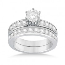 Princess Diamond Engagement Ring & Bridal Set Palladium (1.10ct)