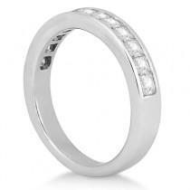 Channel Set Princess Diamond Wedding Band 14k White Gold (0.60ct)