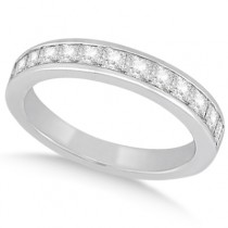 Channel Set Princess Diamond Wedding Band 18k White Gold (0.60ct)