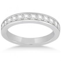 Channel Set Princess Diamond Wedding Band 18k White Gold (0.60ct)