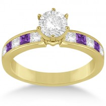 Channel Amethyst & Diamond Engagement Ring 18k Yellow Gold (0.60ct)