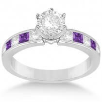 Channel Amethyst & Diamond Engagement Ring Palladium (0.60ct)