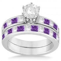 Channel Amethyst & Diamond Bridal Set 14k White Gold (1.30ct)