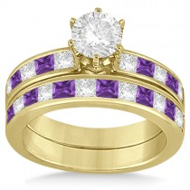 Channel Amethyst & Diamond Bridal Set 14k Yellow Gold (1.30ct)