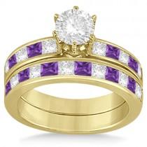 Channel Amethyst & Diamond Bridal Set 18k Yellow Gold (1.30ct)