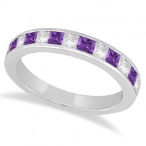 Channel Amethyst & Diamond Wedding Ring 14k White Gold (0.70ct)