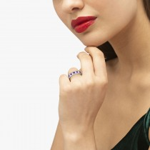 Channel Amethyst & Diamond Wedding Ring 14k White Gold (0.70ct)|escape