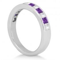 Channel Amethyst & Diamond Wedding Ring 18k White Gold (0.70ct)