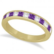 Channel Amethyst & Diamond Wedding Ring 18k Yellow Gold (0.70ct)