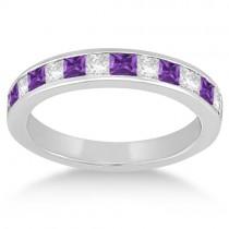 Channel Amethyst & Diamond Wedding Ring Platinum (0.70ct)