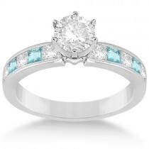 Channel Aquamarine & Diamond Engagement Ring 14k White Gold (0.60ct)