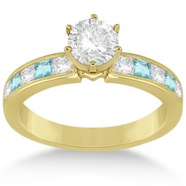 Channel Aquamarine & Diamond Engagement Ring 14k Yellow Gold (0.60ct)