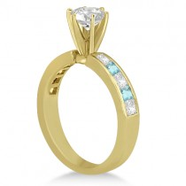 Channel Aquamarine & Diamond Engagement Ring 18k Yellow Gold (0.60ct)