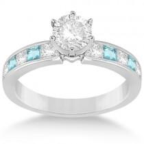 Channel Aquamarine & Diamond Engagement Ring Palladium (0.60ct)
