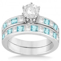Channel Aquamarine & Diamond Bridal Set 18k White Gold (1.30ct)