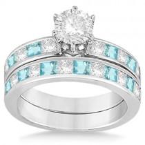 Channel Aquamarine & Diamond Bridal Set 18k White Gold (1.30ct)