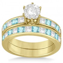 Channel Aquamarine & Diamond Bridal Set 18k Yellow Gold (1.30ct)