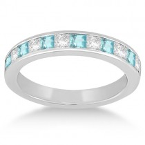 Channel Aquamarine & Diamond Wedding Ring 14k White Gold (0.70ct)