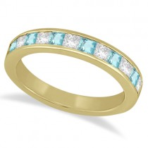 Channel Aquamarine & Diamond Wedding Ring 14k Yellow Gold (0.70ct)