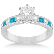 Princess White & Blue Diamond Engagement Ring 14k White Gold 0.50ct