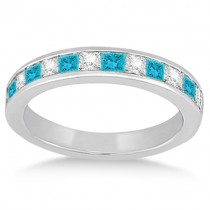 Channel Set Princess White & Blue Diamond Wedding Band Palladium (0.60ct)