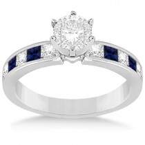 Channel Blue Sapphire & Diamond Engagement Ring Platinum (0.60ct)